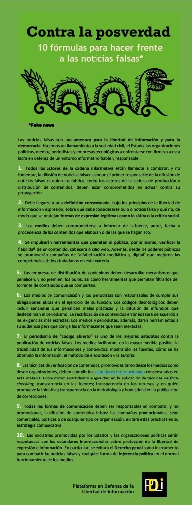 Manifiesto contra las fake news, la posverdad y sobre fact checking de la PDLI