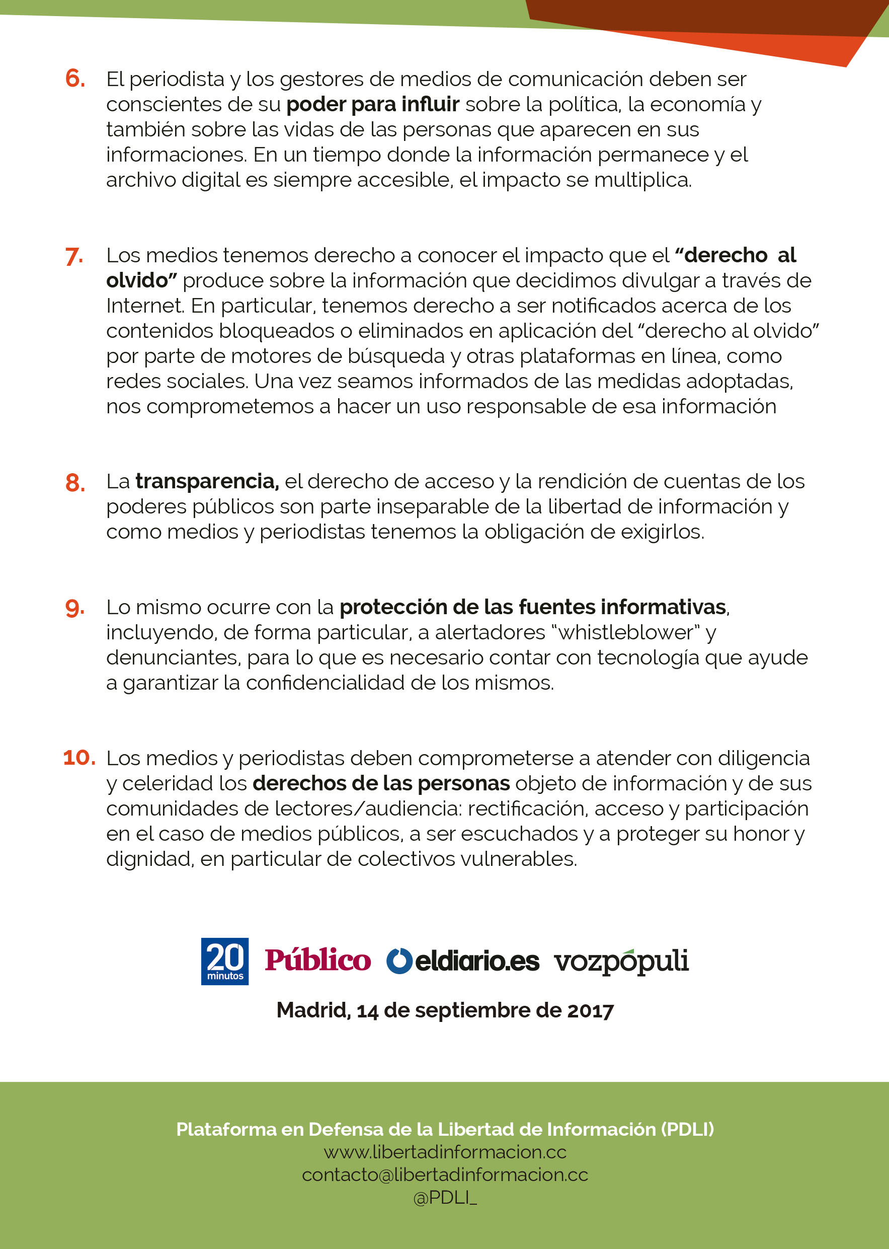Decálogo Periodismo Responsable 2