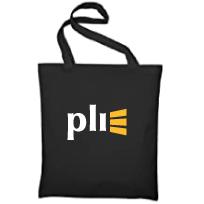 bolsa de tela negra con el logo de PLI